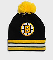 Mitchell & Ness Boston Bruins NHL Stripe Bobble Hat