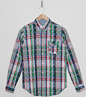 Staple Design Long Sleeved Backstop Plaid Shirt