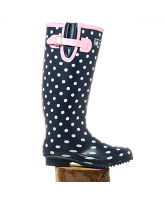 Women's Navy & White Spot Wellingtons