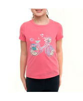 Girl's Cycle Applique Short Sleeve T-Shirt