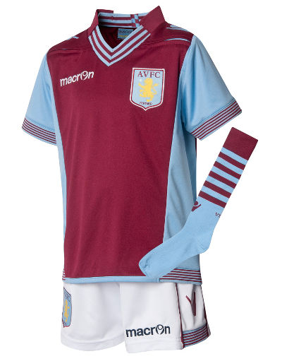 Buy Macron Aston Villa 2013/14 Childrens Home Kit